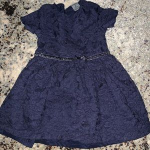 Carter's lacy navy blue dress with sparkly belt